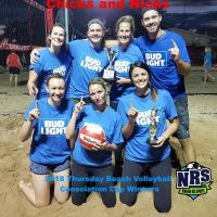NRS 2018 Thursday Beach Volleyball Consolation Cup Winners Chicks and NIcks