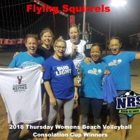 NRS 2018 Thursday Womens Beach Volleyball Consolation Cup Winners Flying Squirrels