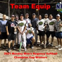 2021 NRS Monday Mens Regency Softball Champion Cup Winners Team Equip