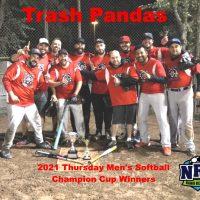 2021 NRS Thursday Mens Regency Softball Champion Cup Winners Trash Pandas