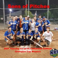 2021 NRS Tuesday Coed Softball St. Catharines Champion Cup Winners Sons of Pitches