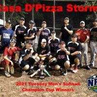 2021 NRS Tuesday Mens Regency Softball Champion Cup Winners Casa D'Pizza Storm