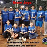 NRS 2018 Monday St.Catharines Softball Champions Cup WInners Brew Jays