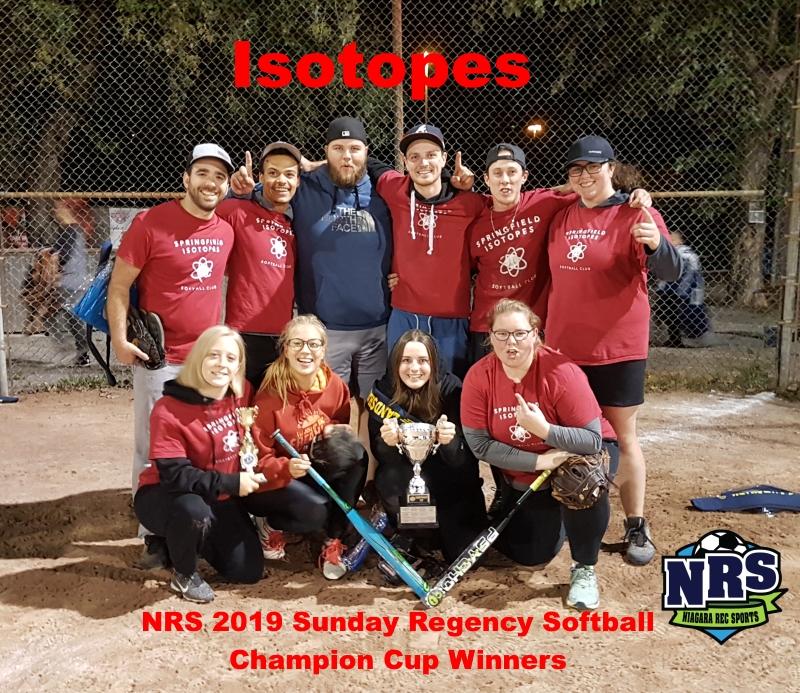 NRS 2019 Sunday Regency Softball Champion Cup Winners