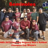 NRS 2019 Thursday Regency Mens Softball Champion Cup Winners