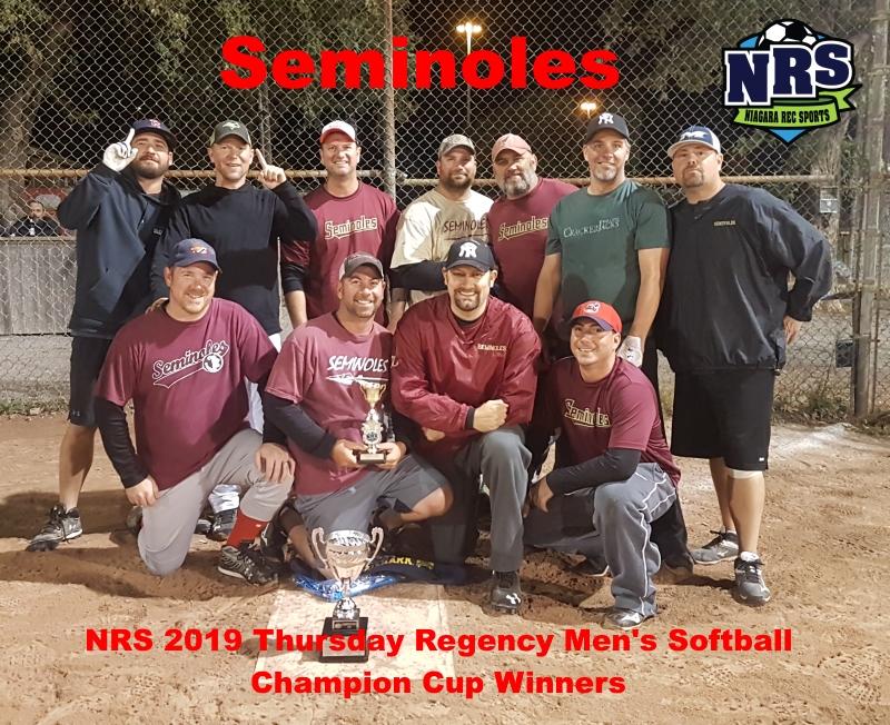 NRS 2019 Thursday Regency Mens Softball Champion Cup Winners