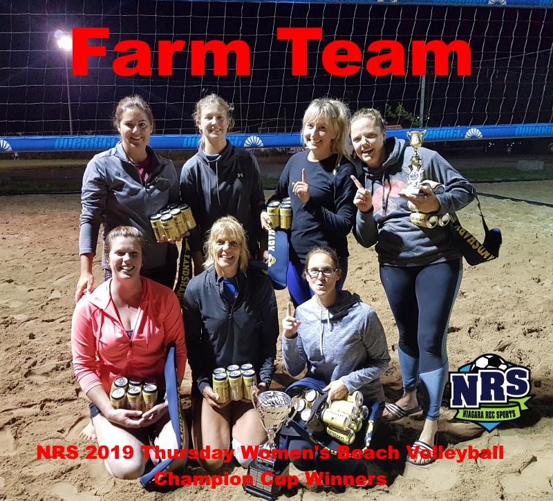 NRS 2019 Thursday Women's Beach Volleyball Champion Cup WInners Farm Team