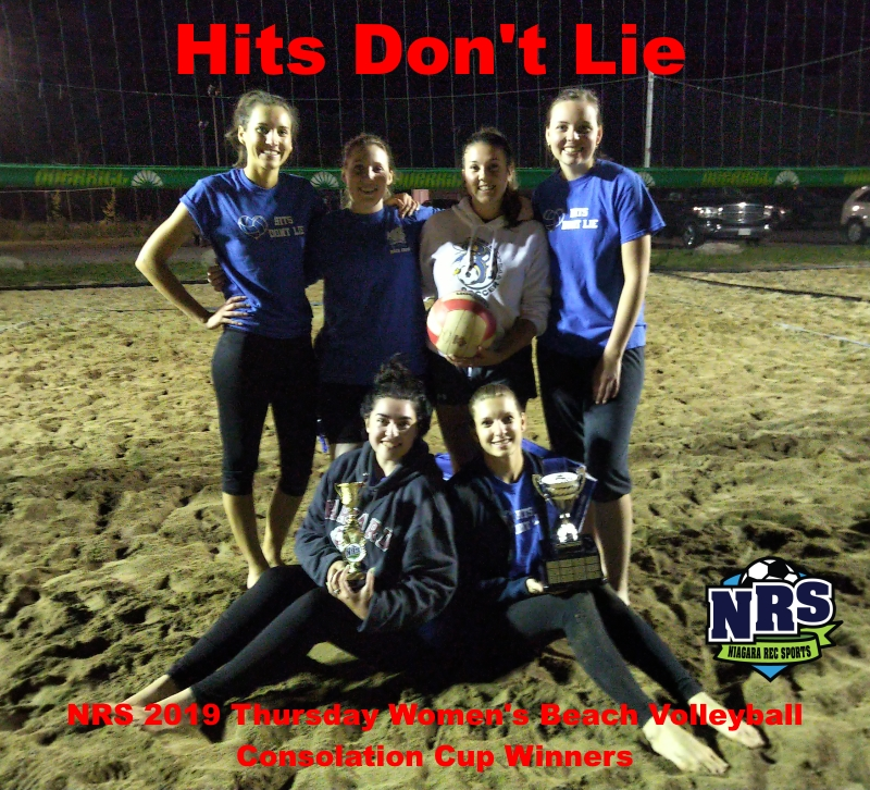 NRS 2019 Thursday Women's Beach Volleyball Consolation Cup WInners Hits Don't Lie