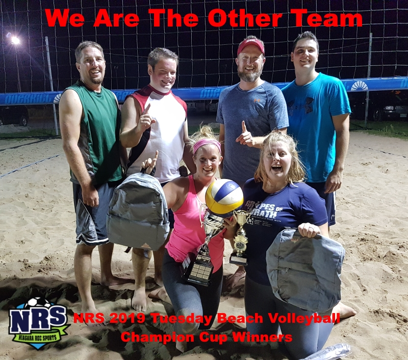 NRS 2019 Tuesday Beach Volleyball Champion Cup Winners