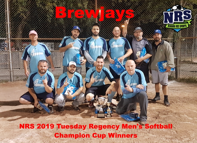 NRS 2019 Tuesday Regency Mens Softball Champion Cup Winners