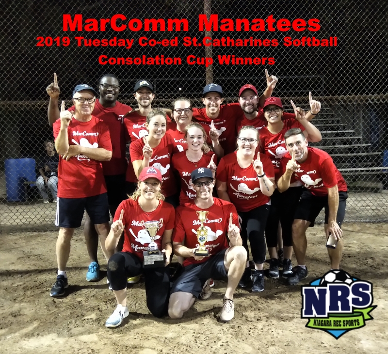 NRS 2019 Tuesday St.Catharines Softball Consolation Cup Winners MarComm Manatees