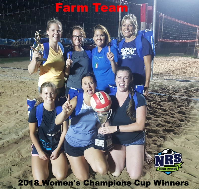 NRS 2018 Thursday Women's Beach Volleyball Champions Cup Winners Farm Team