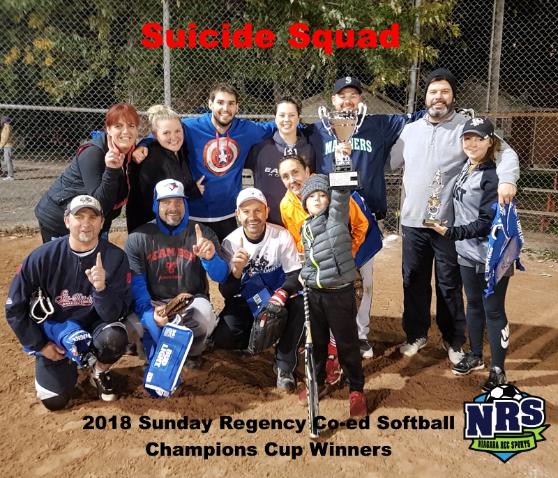 NRS 2018 Sunday Regency Co-ed Softball Champions Cup Winners Suicide Squad