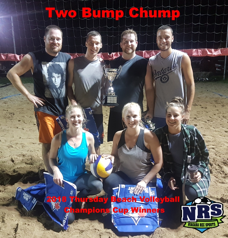 NRS 2018 Thursday Beach Volleyball Champions Cup Winners Two Bump Chump