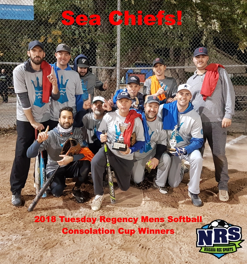 NRD 2018 Tuesday Regency Mens Softball Consolation Cup WInners Sea Chiefs!