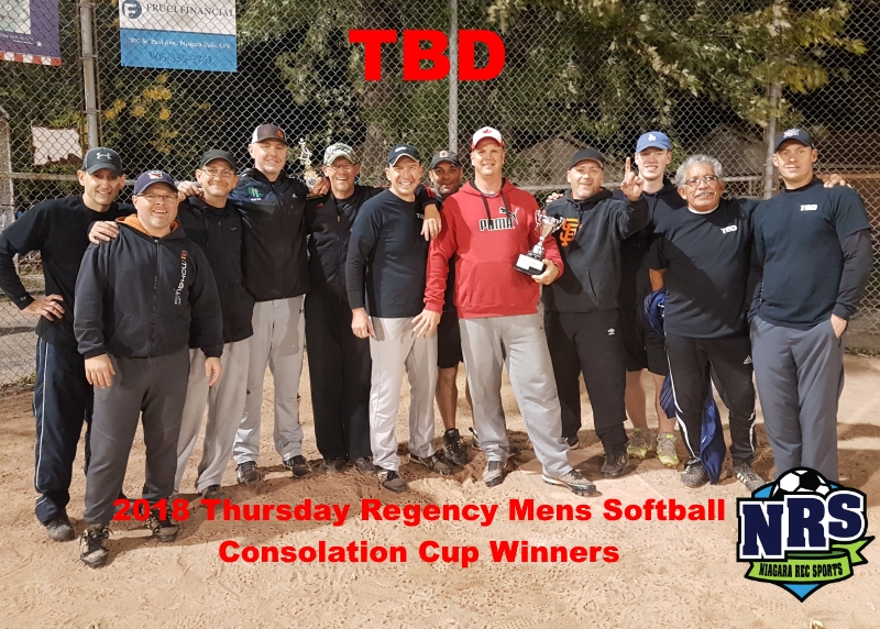 NRS 2018 Thursday Regency Mens Softball Consolation Cup Winners TBD