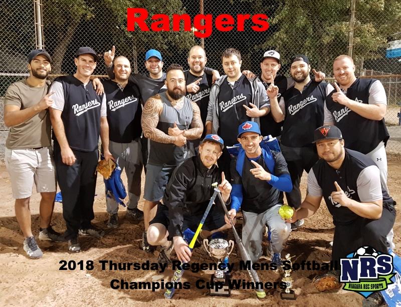 NRS 2018 Thursday Regency Mens Softball Champions Cup WInners Rangers