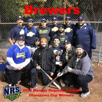 NRS 2018 Monday Regency Softball Champions Cup Winners Brewers