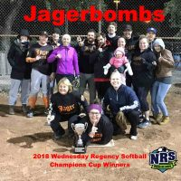 NRS 2018 Wednesday Regency Softball Champions Cup Winners Jagerbombs