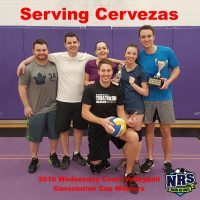 NRS 2019 Wednesday Court Volleyball Consolation Cup Winners Serving Cervezas