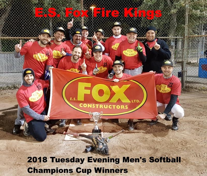 NRS 2018 Tuesday Regency Mens Softball Champions Cup WInners E.S. Fox Fire Kings